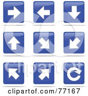 Digital Collage Of Blue And White Arrow Square Icon Buttons