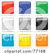 Digital Collage Of Shiny Colorful Square Shaped Website Button Icons