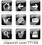 Digital Collage Of Shiny Black And White Square Internet Browser Website Button Icons