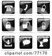 Digital Collage Of Shiny Black And White Square Communications Website Button Icons