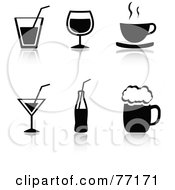 Digital Collage Of Black And White Beverage Icons With Reflections
