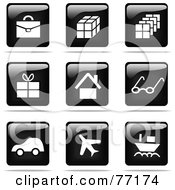 Royalty Free RF Clipart Illustration Of A Digital Collage Of Shiny Black And White Square Travel Website Button Icons by Jiri Moucka