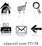 Royalty Free RF Clipart Illustration Of A Digital Collage Of Black And White Home Cart Search Print Email And Back Browser Icons With Reflections by Jiri Moucka