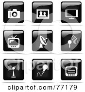 Digital Collage Of Shiny Black And White Square Photography And Entertainment Website Button Icons