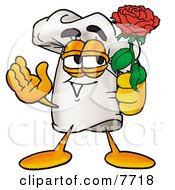 Clipart Picture Of A Chefs Hat Mascot Cartoon Character Holding A Red Rose On Valentines Day