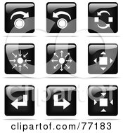 Royalty Free RF Clipart Illustration Of A Digital Collage Of Shiny Black And White Square Arrow Concept Website Button Icons