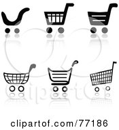Digital Collage Of Black And White Checkout Shopping Cart Icons With Reflections
