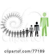 Royalty Free RF Clipart Illustration Of A Spiral Of Black And Gray Paper People Standing Behind A Green Leader Version 2