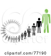 Spiral Of Black And Gray Paper People Standing Behind A Green Leader Version 3