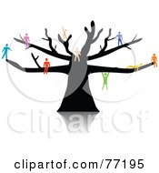 Royalty Free RF Clipart Illustration Of A Colorful Paper People Climbing Sitting And Hanging On A Black Tree by Jiri Moucka #COLLC77195-0122