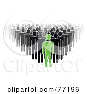 Crowd Of Black And Gray Paper People Standing Behind A Green Leader