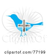 Royalty Free RF Clipart Illustration Of A Gray Plus Symbol Over A Social Blue Bird by Arena Creative
