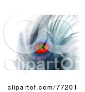Royalty Free RF Clipart Illustration Of A Blurred Abstract Peacock Feather Over White by Arena Creative #COLLC77201-0094