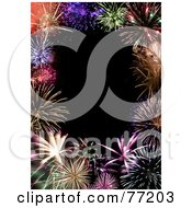Royalty Free RF Clipart Illustration Of A Border Of Colorful Grand Finale Fireworks Framing A Black Background by Arena Creative