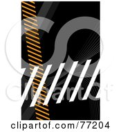 Royalty Free RF Clipart Illustration Of A Orange Gray And White Hazard Stripes Over Black