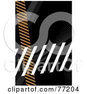 Orange Gray And White Hazard Stripes Over Black
