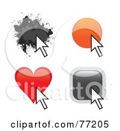 Royalty Free RF Clipart Illustration Of A Digital Collage Of Splatter Circle Heart And Square Website Buttons With Arrow Cursors