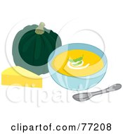 Bowl Of Creamy Cheese And Squash Soup
