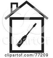 Royalty Free RF Clipart Illustration Of A Screwdriver In A Black And White House by Rosie Piter
