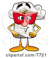 Clipart Picture Of A Chefs Hat Mascot Cartoon Character Wearing A Red Mask Over His Face