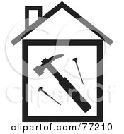 Royalty Free RF Clipart Illustration Of A Hammer And Nails In A Black And White House by Rosie Piter