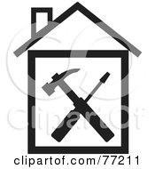 Royalty Free RF Clipart Illustration Of A Hammer And Screwdriver In A Black And White House by Rosie Piter