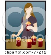 Caucasian Woman Canning Tomatoes In A Kitchen