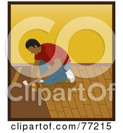 Royalty Free RF Clipart Illustration Of A Hispanic Man Kneeling And Hammering While Installing Wood Floors