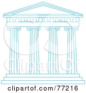 Royalty Free RF Clipart Illustration Of Tall Blue Columns Of A Temple