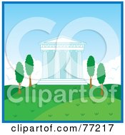 Royalty Free RF Clipart Illustration Of An Exterior View Of A Temple With Columns In A Hilly Landscape At Day Time