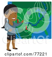 Royalty Free RF Clipart Illustration Of A Smiling Hispanic Weather Girl Discussing Weather Patterns by Rosie Piter