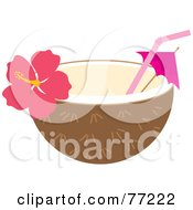 Royalty Free RF Clipart Illustration Of A Halved Coconut With A Straw Umbrella And Hibiscus Flower