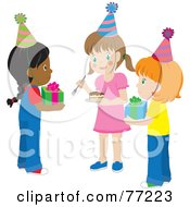 Royalty Free RF Clipart Illustration Of A Group Of Girls Holding Presents And Cake At A Birthday Party by Rosie Piter