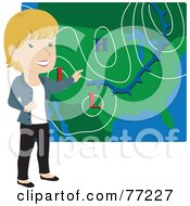 Royalty Free RF Clipart Illustration Of A Smiling Caucasian Weather Girl Discussing Weather Patterns by Rosie Piter