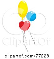 Royalty Free RF Clipart Illustration Of Three Yellow Blue And Red Heart Round And Oval Party Balloons by Rosie Piter