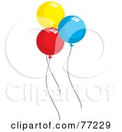Three Round Yellow Red And Blue Party Balloons
