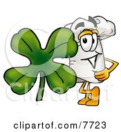 Chefs Hat Mascot Cartoon Character With A Green Four Leaf Clover On St Paddys Or St Patricks Day