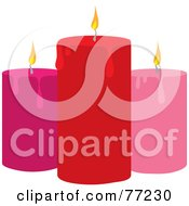 Royalty Free RF Clipart Illustration Of Red And Pink Candles With Lit Wicks And Melting Wax by Rosie Piter