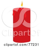 Red Candle With A Lit Wick And Melting Wax