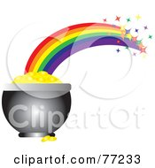 Royalty Free RF Clipart Illustration Of A Sparkling Rainbow Shooting Off Of A Pot Of Gold by Rosie Piter
