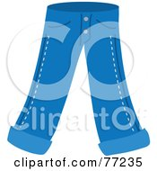 Royalty Free RF Clipart Illustration Of A Pair Of Blue Jeans With Folded Ankles by Rosie Piter