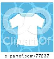 Plain White T Shirt Over A Blue Bubble Background