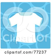 Royalty Free RF Clipart Illustration Of A Plain White T Shirt Over A Blue Bubble Background by Rosie Piter