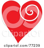 Red Heart With A White Swirl