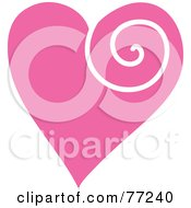 Royalty Free RF Clipart Illustration Of A Pink Heart With A White Swirl by Rosie Piter
