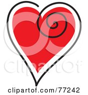 Royalty Free RF Clipart Illustration Of A Red Heart Outlined In White And Black With A Swirl by Rosie Piter