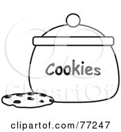 Royalty Free RF Clipart Illustration Of A Black And White Chocolate Chip Cookie By A Jar by Rosie Piter