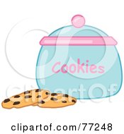 Royalty Free RF Clipart Illustration Of Two Chocolate Chip Cookies By A Jar by Rosie Piter