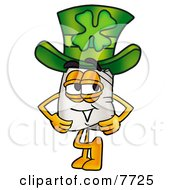 Clipart Picture Of A Chefs Hat Mascot Cartoon Character Wearing A Saint Patricks Day Hat With A Clover On It
