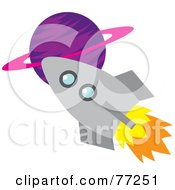 Royalty Free RF Clipart Illustration Of A Rocket Shooting Past A Purple Planet by Rosie Piter #COLLC77251-0023
